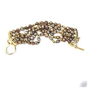 Monet multi strand pearl bracelet  w/toggle